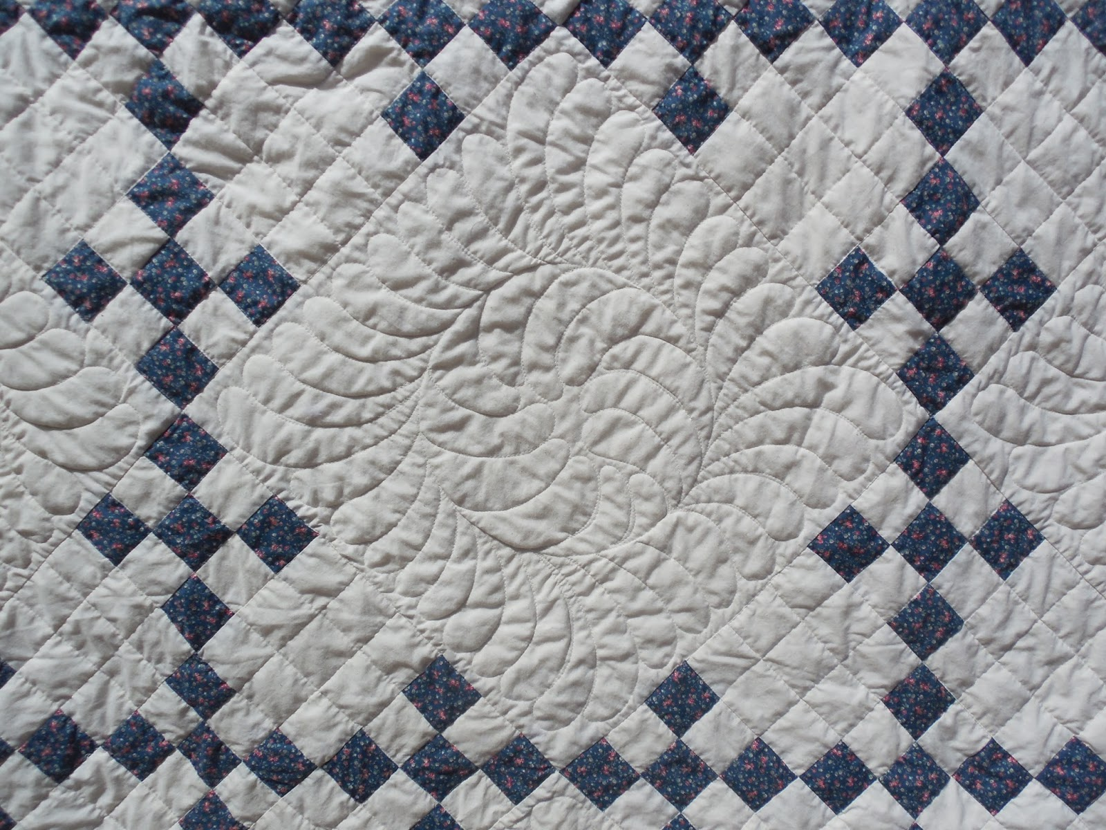 Tanderwen Quilts: Beth's blue and white quilt