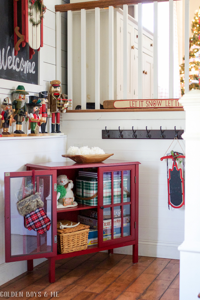 Target Threshold cabinet with glass doors - Golden Boys and Me Holiday Home Tour 2017