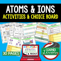 Atoms and Ions Activities, Earth Science Activities, Choice Boards, Digital Graphic Organizers
