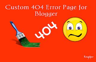 Custom Configuration 404 Error Page in Blogger