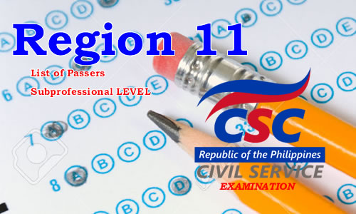 List of Passers Region 11 August 2017 CSE-PPT Subprofessional Level