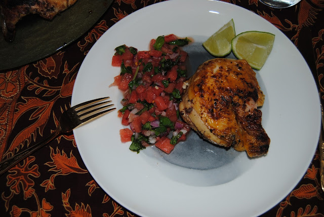 "CHICKEN ""TABAKA"" WITH WATERMELON AND BASIL SALSA"