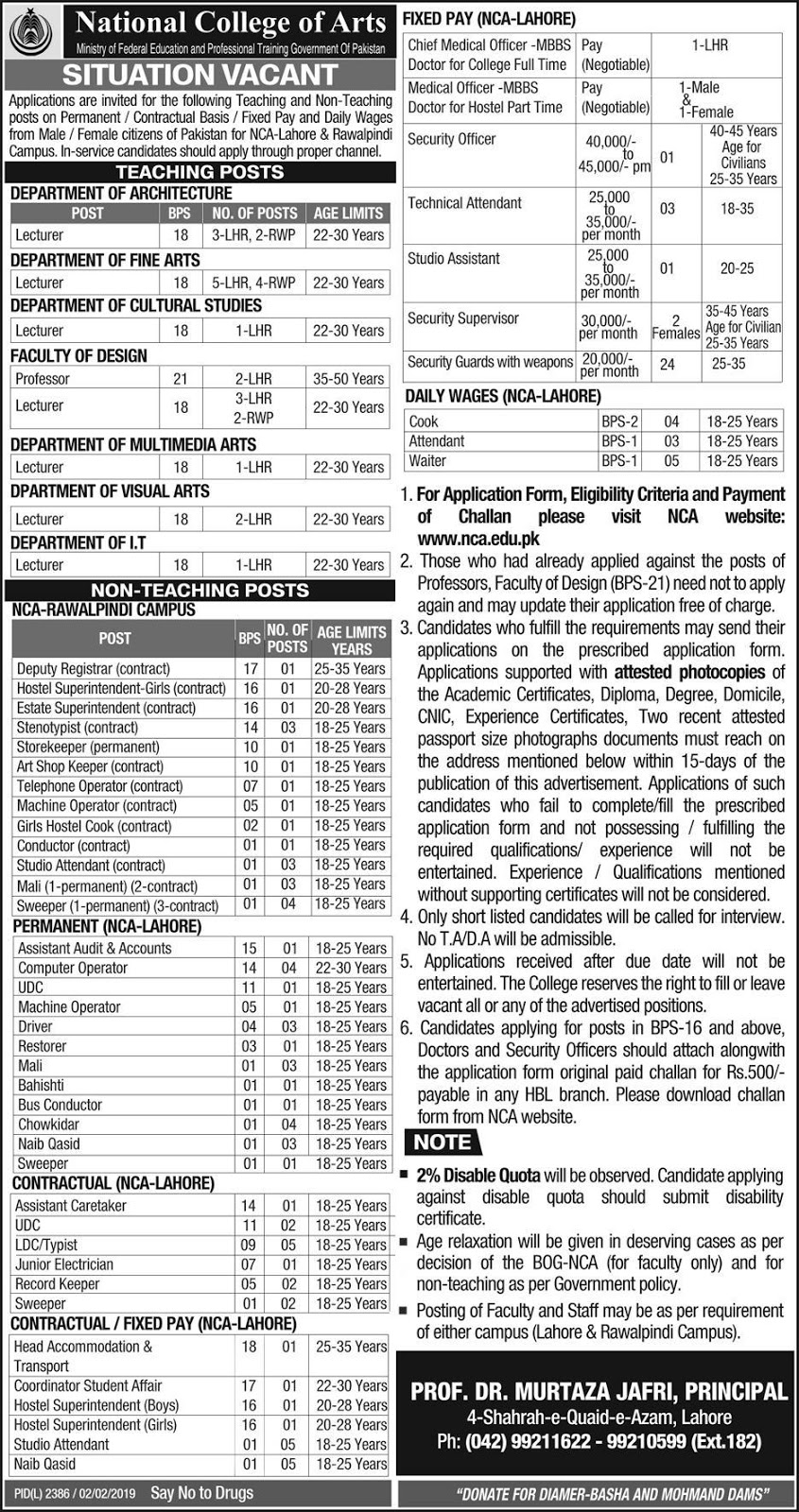 National College Of Arts Announced Jobs in Lahore