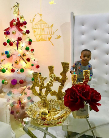 nollywood actress tonto dikeh took to ig page to share photos of herself and her son king andre decorating the christmas tree in their home ahead of time - Celebrities Christmas Decorated Homes