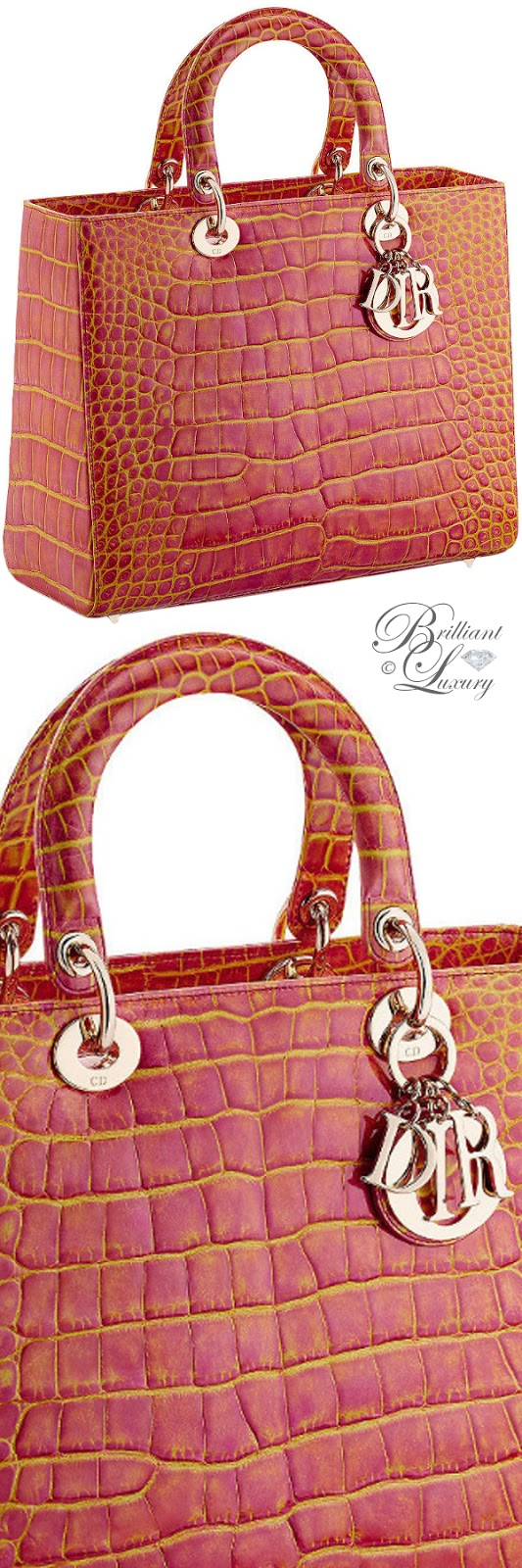 Brilliant Luxury ♦ Large Lady Dior bag in pink and yellow patinated alligator