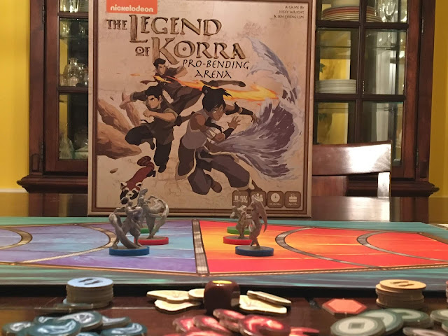 Legend of Korra Pro-Bending Arena board game by IDW Games, board game review by Benjamin Kocher; photo by Benjamin Kocher