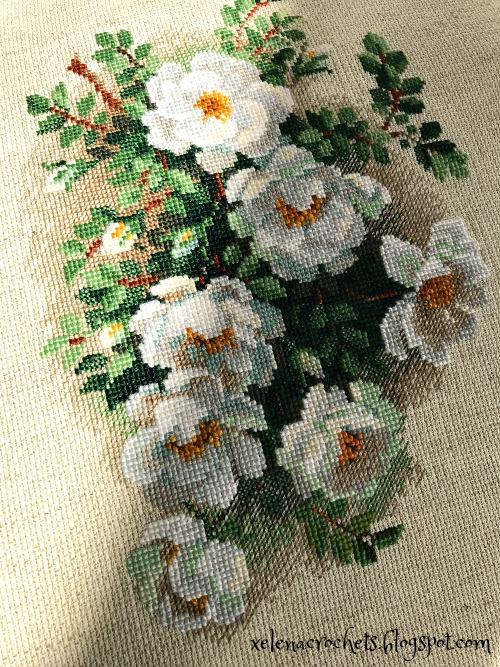 вышивка белый шиповник риолис