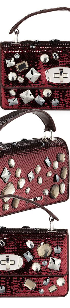 Miu Miu Cleo Jeweled Paillettes Top Handle Bag