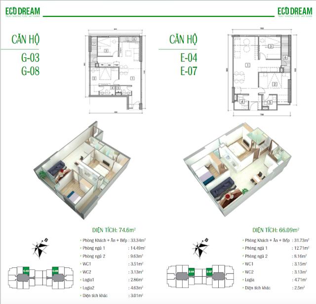 Thiết kế căn hộ loại G và E chung cư Eco Dream
