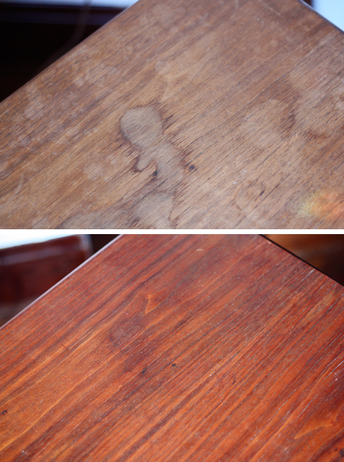 Experiment  mayonnaise to treat water stains  I bought a solid wood table. Experiment  mayonnaise to treat water stains   How About Orange
