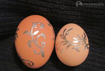 Stickers on blown egg shells