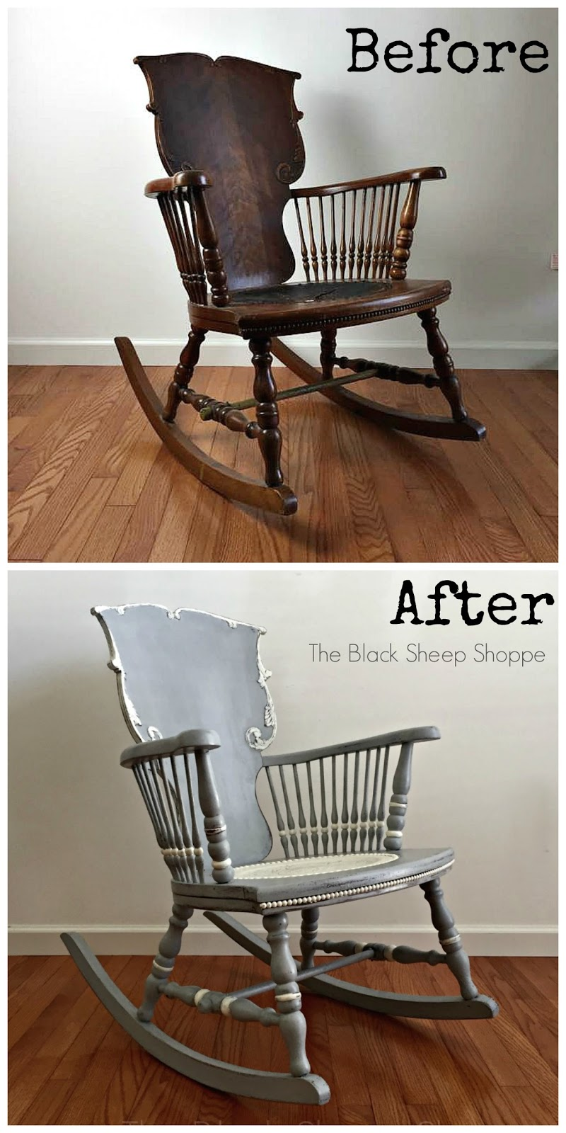 Before and after of antique rocking chair