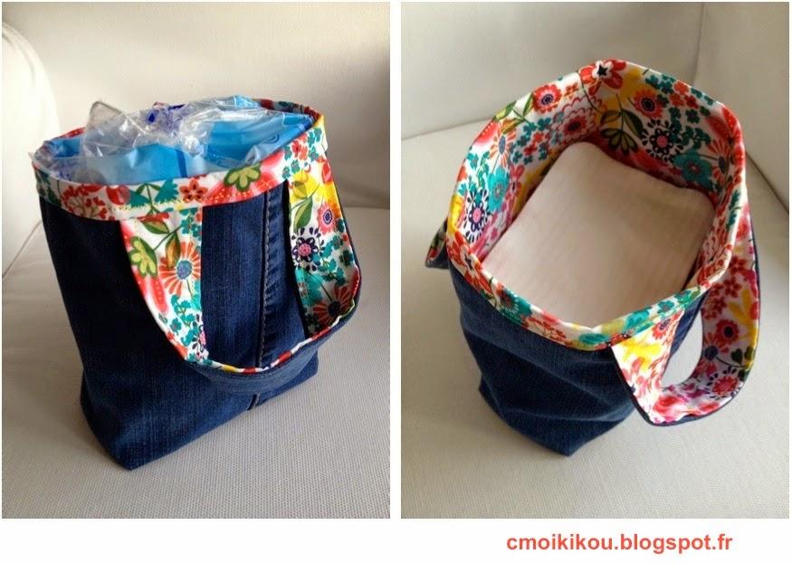 cmoikikou panier r versible en tissu pour les carr s de coton b b ou demakup. Black Bedroom Furniture Sets. Home Design Ideas