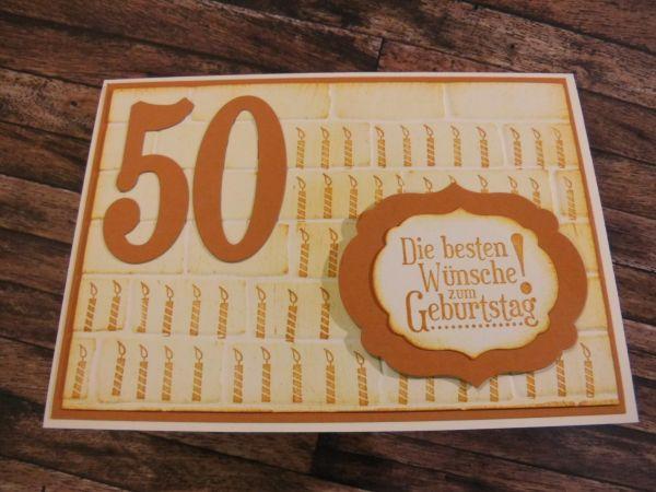 gestanzt und gestempelt karte zum 50 geburtstag mit 50 kerzen. Black Bedroom Furniture Sets. Home Design Ideas