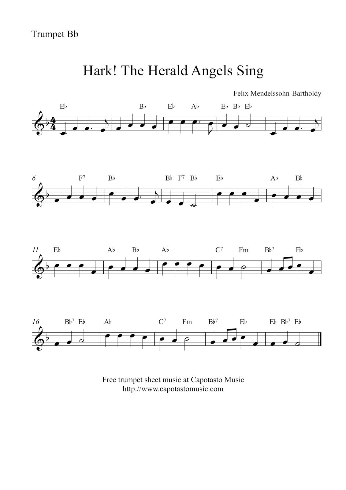 hark the herald angels sing free christmas trumpet sheet music