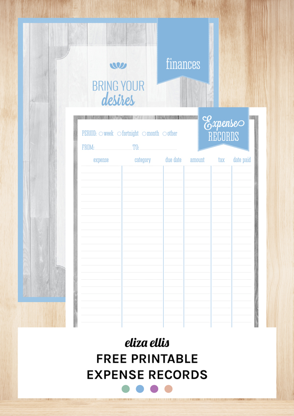 Free Printable Expense Records by Eliza Ellis