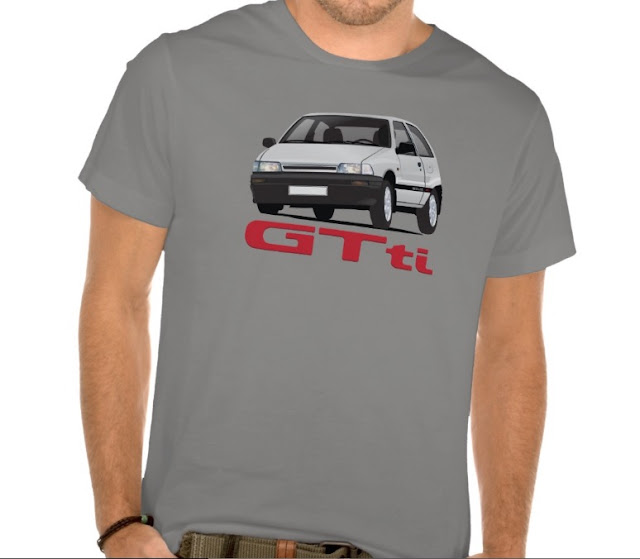 White Daihatsu Charade with GTti badge t-shirt