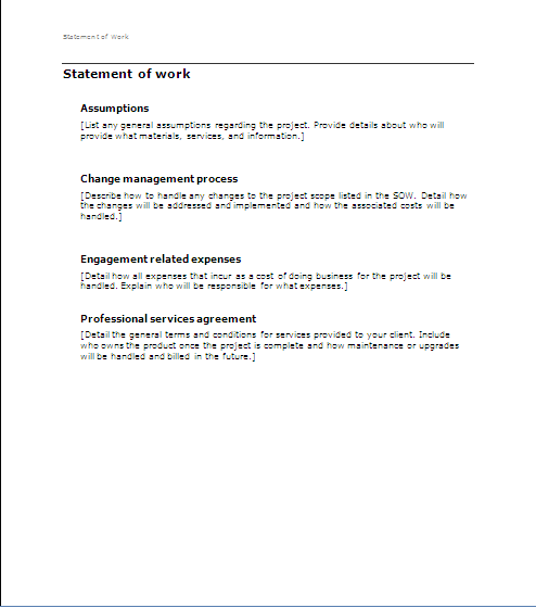 Project management sow statement of work for Statement of works template