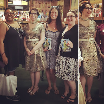 Gail Carriger Wears a 1950s Style eShakti Gold Cocktail Dress for Competence Book Launch in Denver