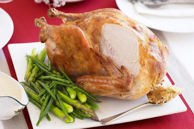 Roast turkey with lemon tarragon stuffing and bread sauce  meal ideas