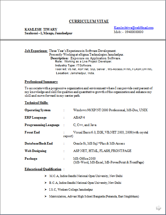 Asp Net Resume For Experienced Resume Blog Co: Excellent Resume Sample Of Experienced
