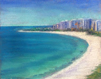Soft pastel painting of a seashore by Manju Panchal