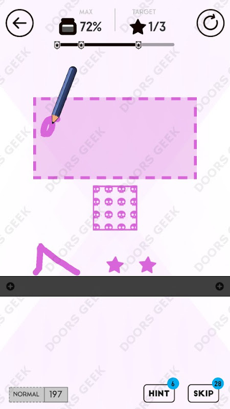 Draw Here Level 197 Solution, Walkthrough, Cheats for Android, iPhone, iPad and iPod