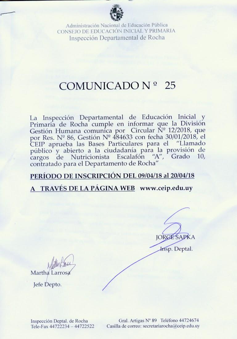 Inspecci N Departamental De Rocha Comunicado N 25