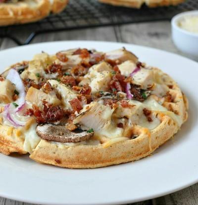Garlic Chicken Alfredo Waffle. Pizza