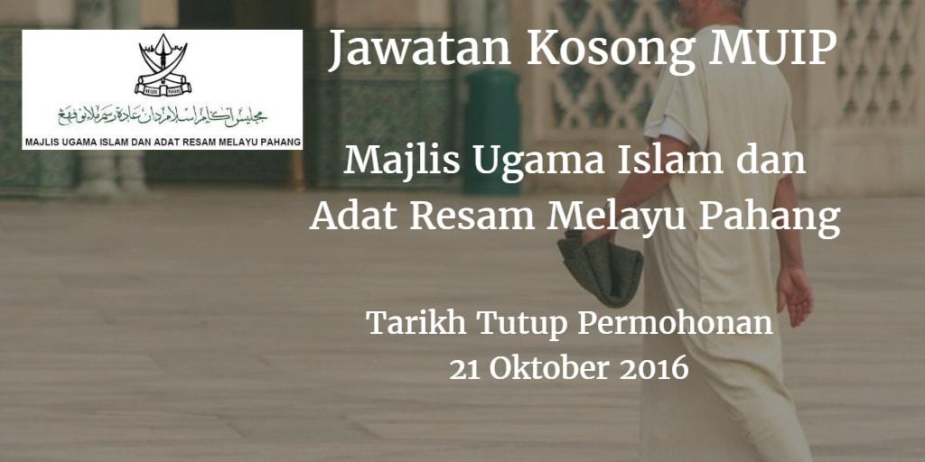 Jawatan Kosong MUIP 21 Oktober 2016