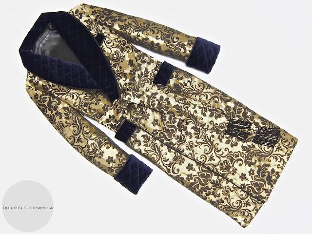 Men's silk dressing gown with quilted shawl collar gold dark blue paisley warm velvet long robe gentleman english elegant stylish