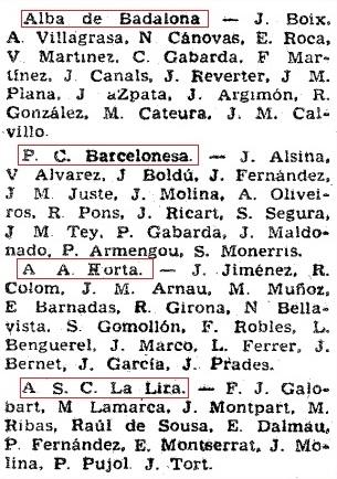 Listado 1 de los equipos de 1ª Categoría A de 1961