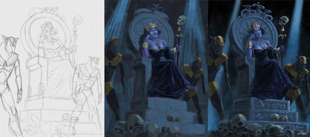 digital art stages of fantasy death queen with skulls
