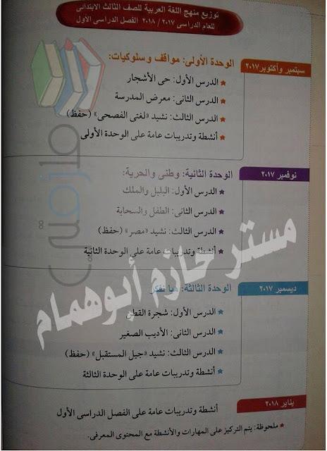 توزيع منهج اللغة العربية للصف الثالث الإبتدائى ترم أول 2017/2018