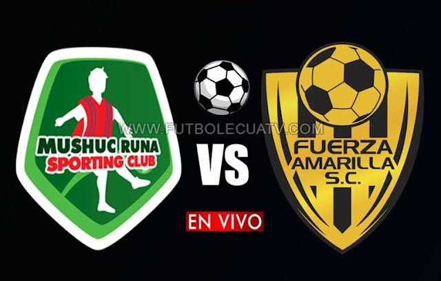 Mushuc Runa se enfrenta a Fuerza Amarilla en vivo a partir de las 13h00 horario de nuestro país por la fecha 25 del campeonato ecuatoriano a realizarse en el reducto Bellavista, con arbitraje principal de Luis Quiroz siendo emitido por el canal oficial GolTV Ecuador.