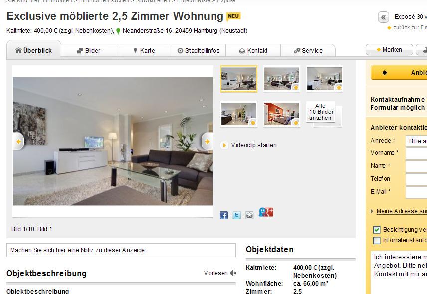 exclusive m blierte 2 5 zimmer wohnung kaltmiete 400 00 zzgl. Black Bedroom Furniture Sets. Home Design Ideas