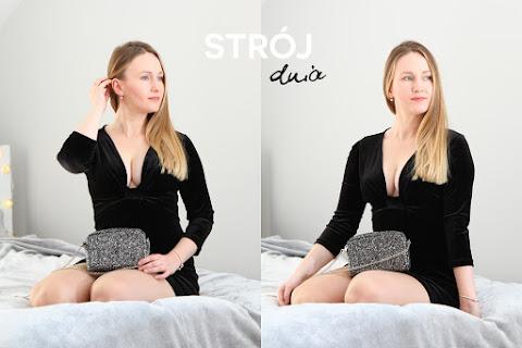 Strój dnia na Walentynki: aksamitna mała czarna z dekoltem i rękawem 3/4 - czytaj dalej »