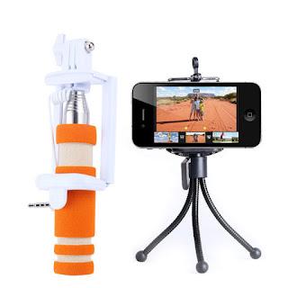 Mini Monopod Selfie Stick Bundle With Mini Tripod Selfie - Orange
