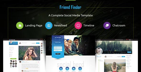 Friend Finder Social Network HTML Template Download Website - Timeline website template
