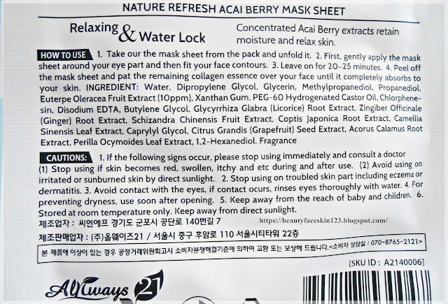 Always21 Nature Refresh Mask Sheet in Acai Berry