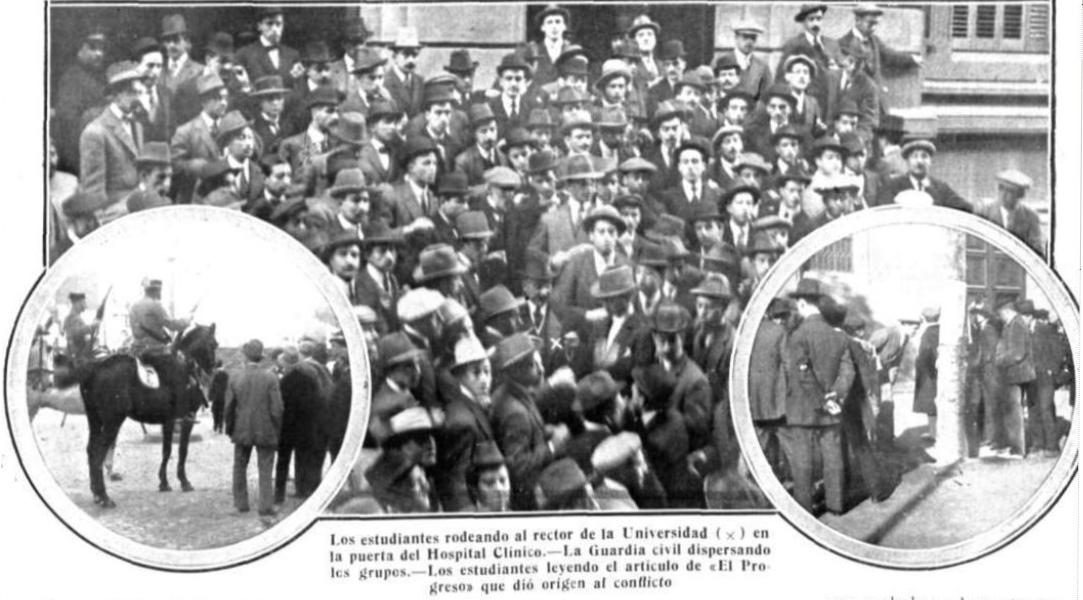 Fotografías de las protestas estudiantiles que tienen lugar en el otoño de 1911 contra Rosario de Acuña
