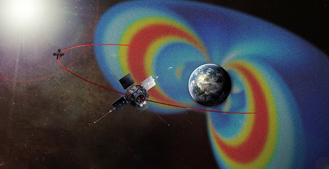 Artist's depiction of NASA's Van Allen Probes, with the Van Allen radiation belts rendered in false color for visibility  Image: NASA