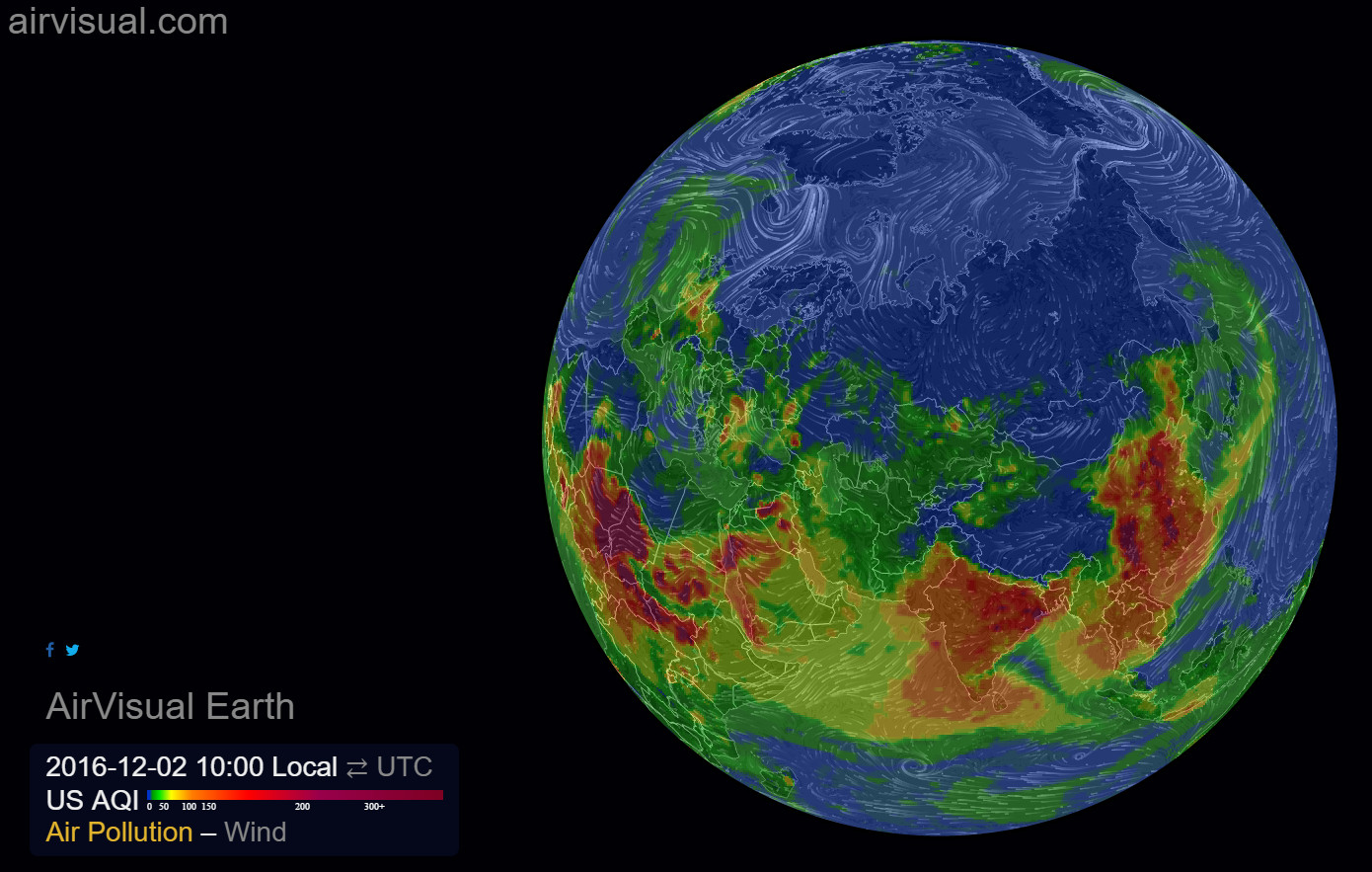 Air pollution flow across the planet in real time