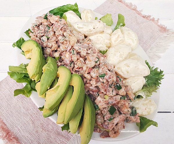 Creamy Shrimp and Bacon, served with baby Potatoes and Avocado on a bed of Lettuce makes the perfect lunch or appetizer