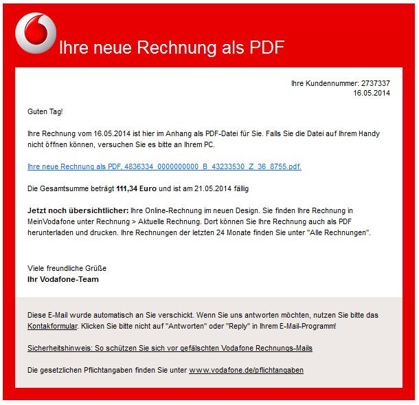 phishing mail alerts vodafone ihre rechnung vom. Black Bedroom Furniture Sets. Home Design Ideas