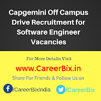 Capgemini Off Campus Drive Recruitment for Software Engineer Vacancies