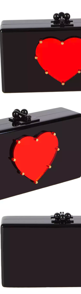 Edie Parker Jean Studded Heart Acrylic Clutch Bag