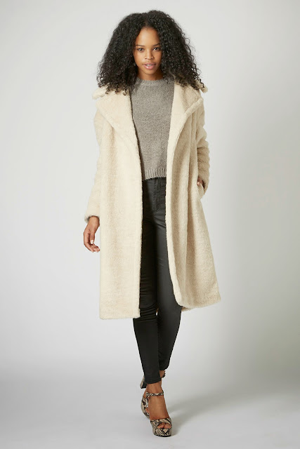 cream fur long coat