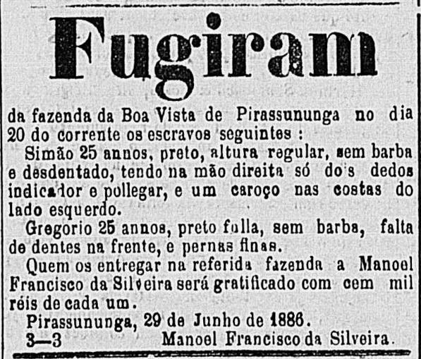 Anúncio de escravos fugidos na segunda metade só século XIX