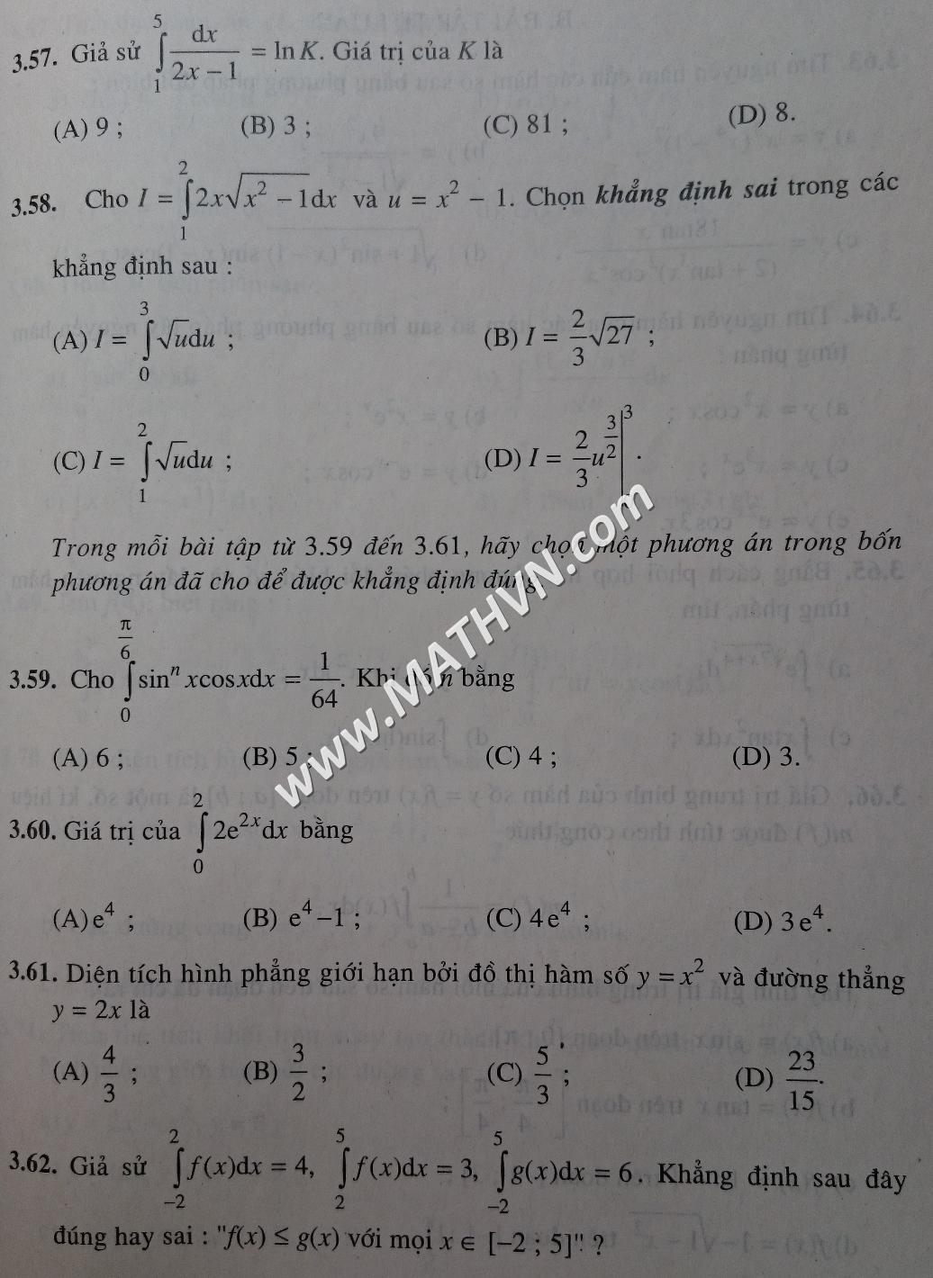 bài tập trắc nghiệm toán 12 sgk giải tích nâng cao